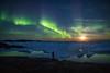 Aurora over icebergs, Greenland