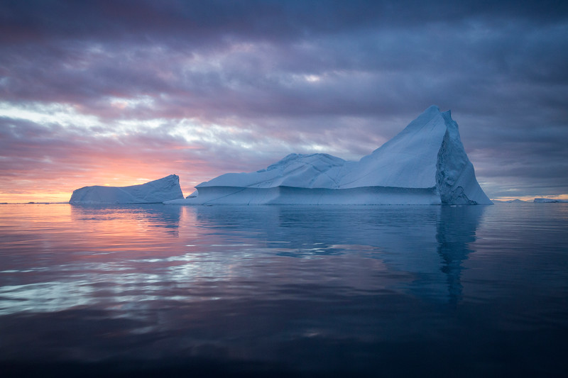 Sunset over iceberg, Greenland