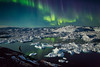 Aurora and icebergs, Greenland