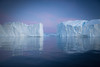 Sunset and icebergs, Greenland