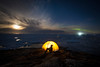 Camp and icebergs, Greenland