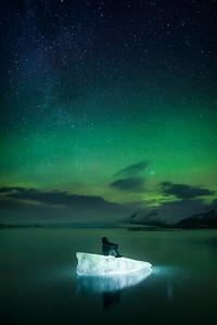 Aurora Borealis over Jokulsarlon Glacier Lagoon