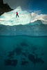 Underwater view climbing Icebergs, Iceland