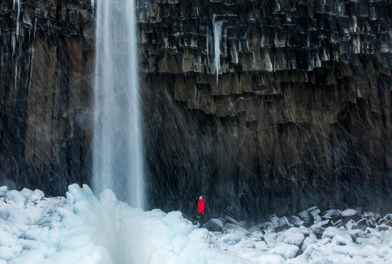 Snow and Ice at Svartifoss Falls
