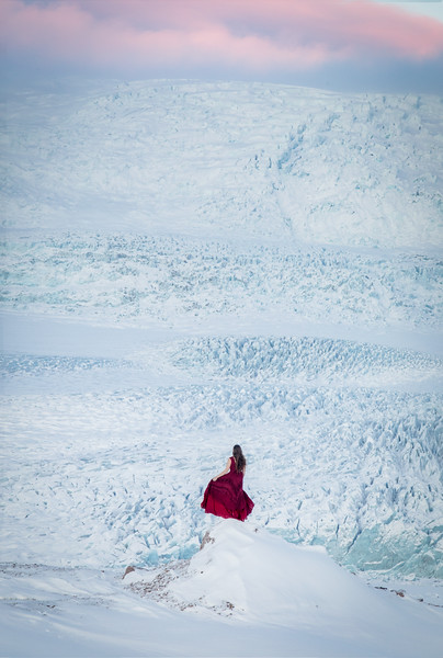 Person overlooking glacier