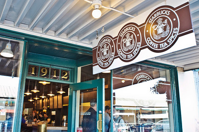 The Starbucks store at 1912 Pike Place. From 1971–1976, the first Starbucks was at 2000 Western Avenue; it then was relocated to 1912 Pike Place, where it remains to this day.