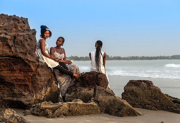 Friends hanging out at the beach.  Casamance, Senegal, 2020.