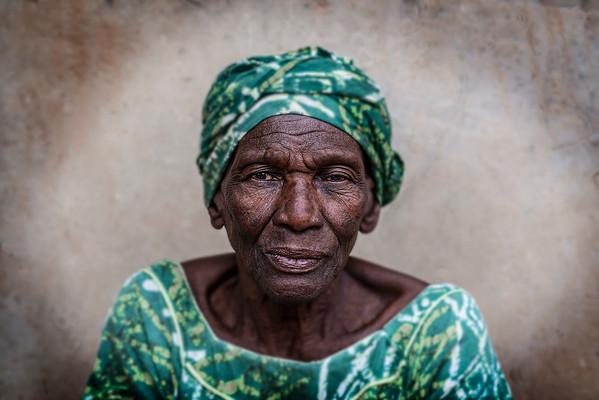 Portrait of a Jola woman wearing a traditional dress.   Senegal 2020.