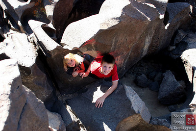 Trevor and Megan find a fort amidst the twisted rockscape