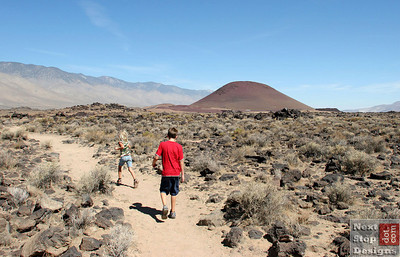 Running back to the car, red Cinder Cone from an geologically recent volcano.  I love Owen's Valley.