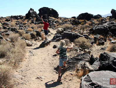 Racing down the short trail to Fossil Falls