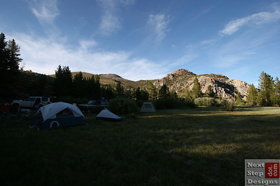 Our campsite at the edge of the meadow