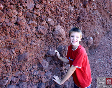 Trevor checks out the lava rock.