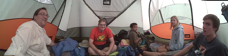 Hanging out in the tent, during a brief rain squall