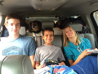 The kids are all smiles at the start of the trip up the 395