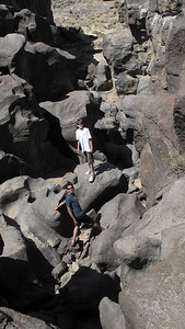 Sam and Trevor exploring the lava fields at Fossil Falls
