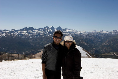 Sam & Priya on top of Mammoth Mtn with the Minaret's in the background