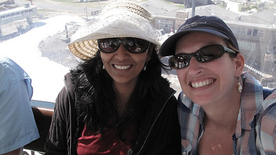 Priya and Marni on the gondola to the top of Mammoth Mountain