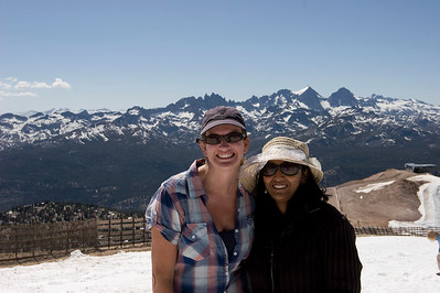 Marni & Priya on top of Mammoth Mtn with the Minaret's in the background