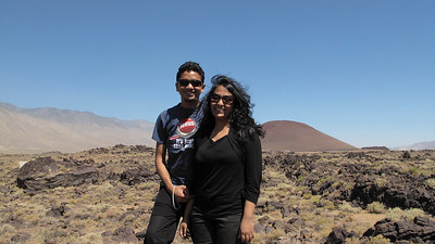 Sam and Priya enjoys views of their first Volcano (Red Cone near Fossil Falls)