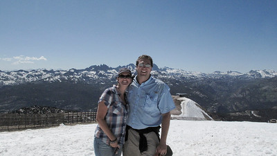 Marni & Nathan on top of Mammoth Mtn with the Minaret's in the background