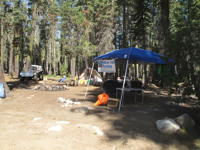 F.O.T.R. had this camp set up near the junction from Wentworth Springs and Loon Lake trail entrances to take survey data and make sure everyone had toilet sand spill kits onboard.