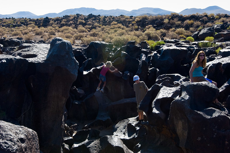 Playing on the rocks at Fossil Falls