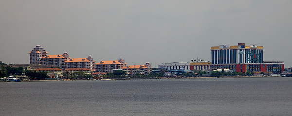 View of Johor Bahru from the jetty at Woodlands Waterfront