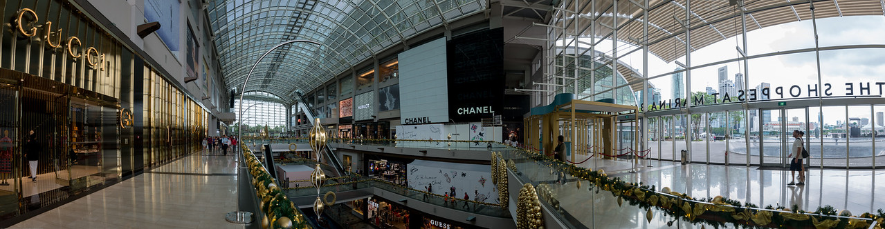 Panoramic view of the inside of The Shoppes at The Marina Bay Sands which is an integrated resort fronting Marina Bay in Singapore opening in 2010.
