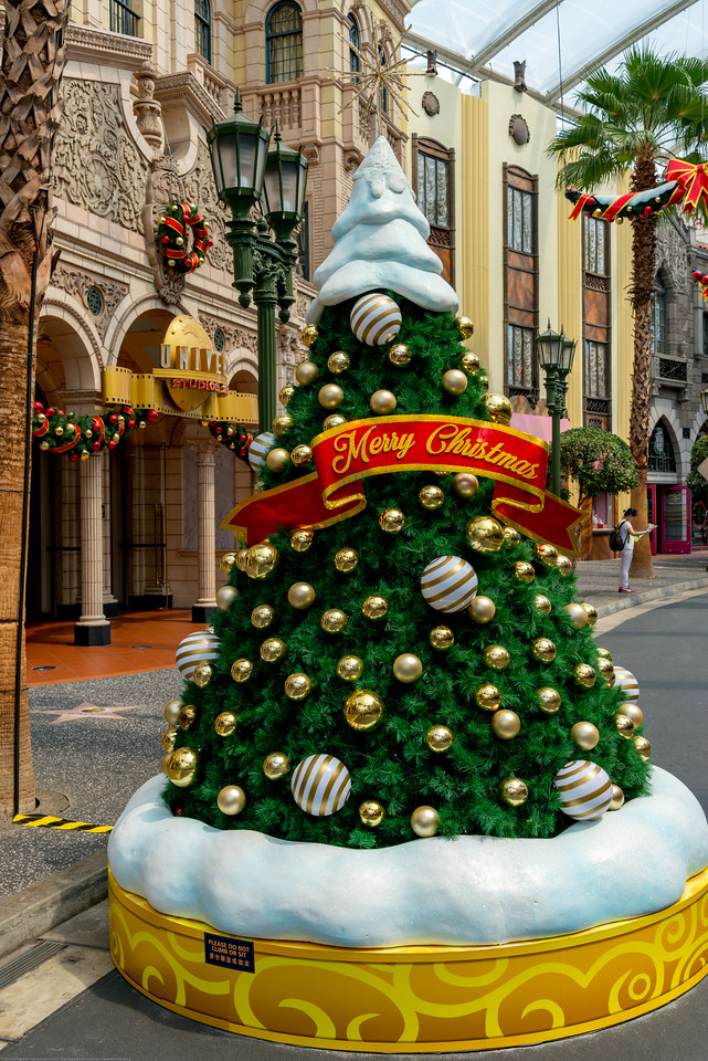 Christmas tree at Universal Studios Singapore which is a theme park located within Resorts World Sentosa on Sentosa Island, Singapore.