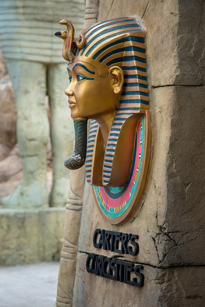 Carter's Curiosities. Ancient Egypt ride at Universal Studios, Resorts World Sentosa, Singapore.<br /> <br /> Ancient Egypt is based on the historical adaptation of Ancient Egypt during the 1930s Golden Age of Egyptian Exploration.