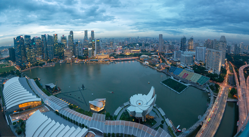 Evening view of CBD, Singapore. From Sands SkyPark Observation Deck, on the 57th floor.