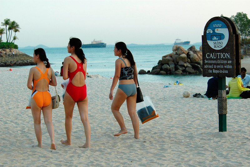 People having a great time on the Siloso beach at Sentosa Island in Singapore having a flower show. Feb'2005.