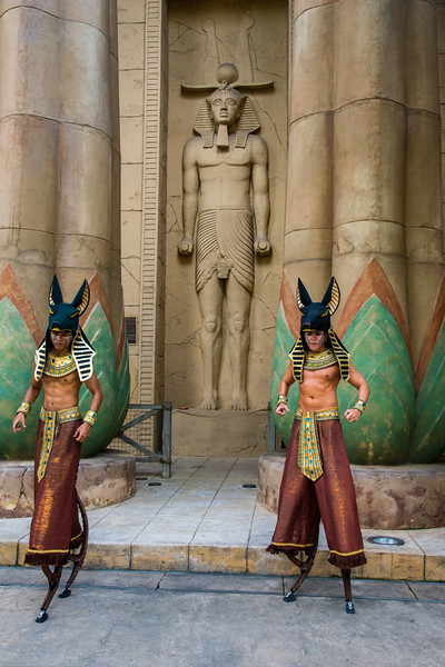 """Statues of Ancient Egypt, Universal Studios, Resorts World Sentosa, Singapore.<br /> <br /> Ancient Egypt is based on the historical adaptation of Ancient Egypt during the 1930s Golden Age of Egyptian Exploration. It features obelisks and pyramids which are typical of Ancient Egypt. Also featured are Pharaohs' tombs and depictions in the popular film, """"The Mummy""""."""