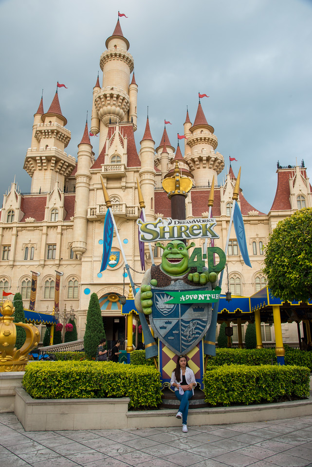 "Far Far Away is inspired by DreamWorks Animation's hit movie Shrek which depicted how the fairy-tale characters lived in daily life. Consisting of many recognizable locations from the film series, and the main highlight is the 40-metre tall ""Far Far Away Castle""."
