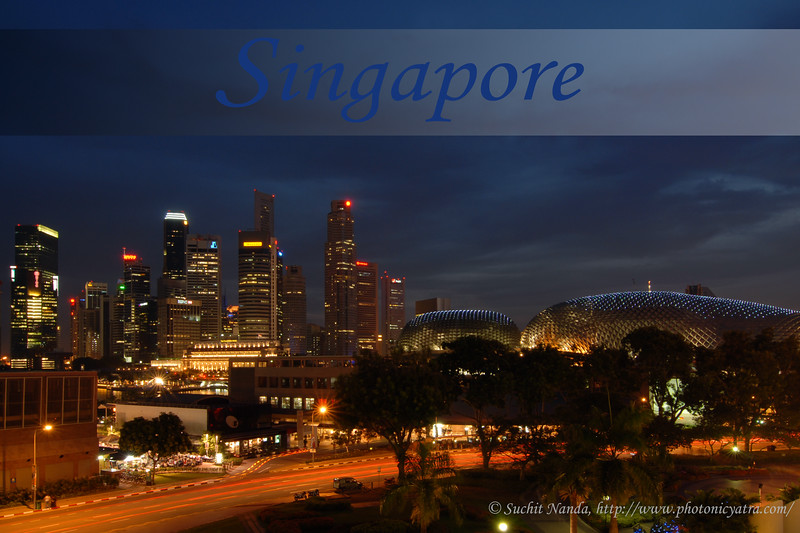 Singapore (Chinese: 新加坡; pinyin: Xīnjiāpō; Malay: Singapura; Tamil: சிங்கப்பூர், Cingkappūr), (Republic of Singapore), is an island city-state located at the southern tip of the Malay Peninsula, lying 137 kilometres (85 mi) north of the equator, south of the Malaysian state of Johor and north of Indonesia's Riau Islands. At 710.2 km2 (274.2 sq mi), Singapore, a microstate and the smallest nation in Southeast Asia, is by orders of magnitude larger than Monaco, San Marino, Andorra and Vatican City, the only other surviving sovereign city-states. The population of Singapore is approximately 4.86 million. Since independence, Singapore's standard of living has risen dramatically. Foreign direct investment and a state-led drive to industrialization have created a modern economy focused on industry, education and urban planning. edit<br /> <br /> Visit to Singapore in May 2007. Went to The PC Show 2007 and also a Book Exhibition. Also went to the Singapore Zoo and got to see the celebrations of Vesak Festival (Buddhist) happening around that time.<br /> <br /> Evening view of The  Esplanade with the CBD area at the back.<br /> <br /> The Esplanade is a waterfront location just north of the mouth of the Singapore River in downtown Singapore. <br /> <br /> Marina Bay is a bay near Central Area, Downtown, Southern Singapore. An artificial bay, it was formed when land reclamation created the Marina Centre and Marina South areas, which form a body of sheltered waters of what was once open sea. In the reclamation process, Telok Ayer Basin was removed from the map, while the Singapore River's mouth now flows into the bay instead of directly into the sea.