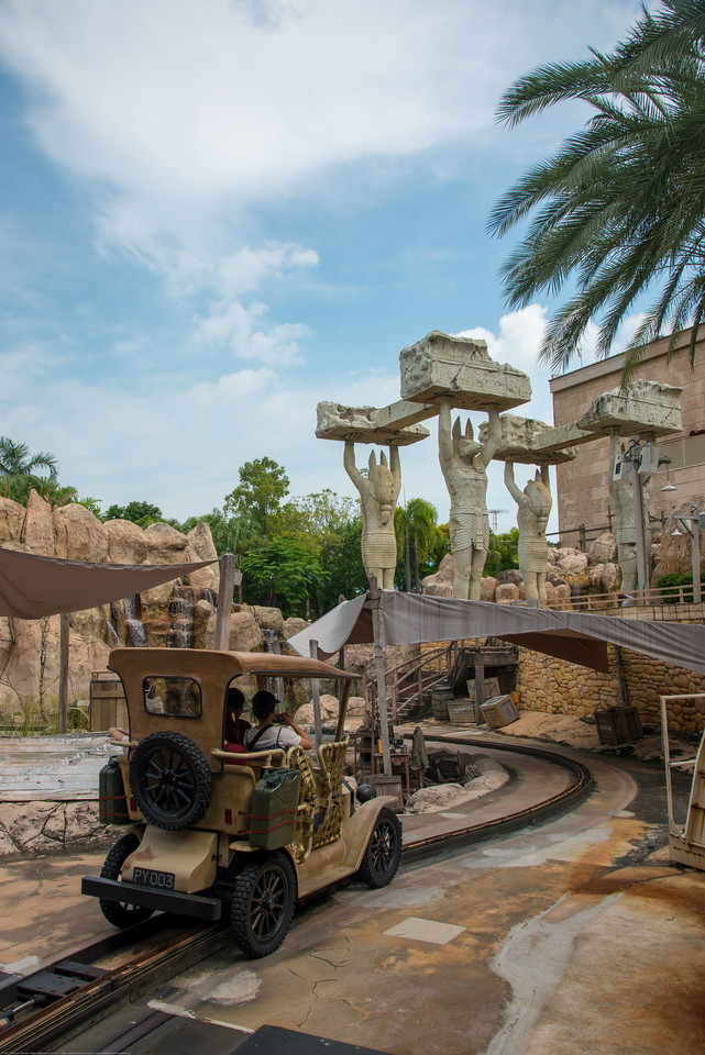 Ancient Egypt ride at Universal Studios, Resorts World Sentosa, Singapore.<br /> <br /> Ancient Egypt is based on the historical adaptation of Ancient Egypt during the 1930s Golden Age of Egyptian Exploration.