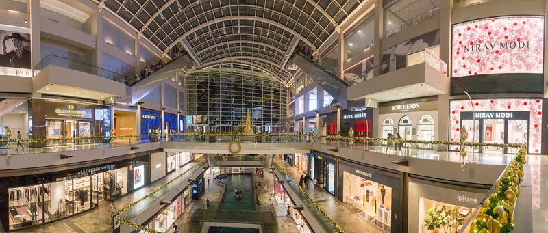 Panoramic view of the interiors of Marina Bay Sands located in Marina Bay, Central Area, Singapore.