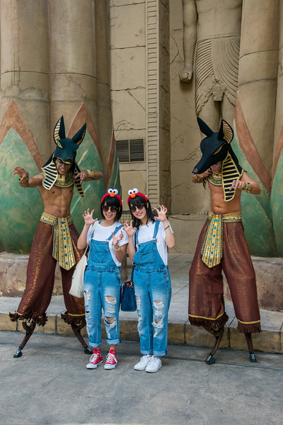 """Visitors being scared at the Statues of Ancient Egypt, Universal Studios, Resorts World Sentosa, Singapore.<br /> <br /> Ancient Egypt is based on the historical adaptation of Ancient Egypt during the 1930s Golden Age of Egyptian Exploration. It features obelisks and pyramids which are typical of Ancient Egypt. Also featured are Pharaohs' tombs and depictions in the popular film, """"The Mummy""""."""