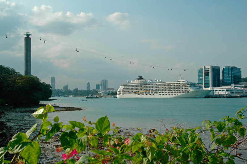 Cruise liner at Sentosa Island with Cable car at the back see in in Singapore which was having a flower show. Feb'2005.