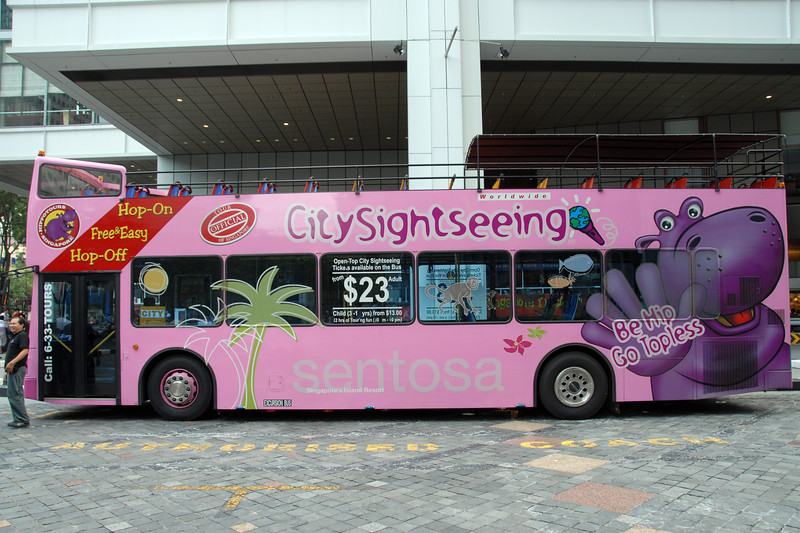 City Sightseing Bus including the frog and amphibious vehicles. Singapore, South East Asia.