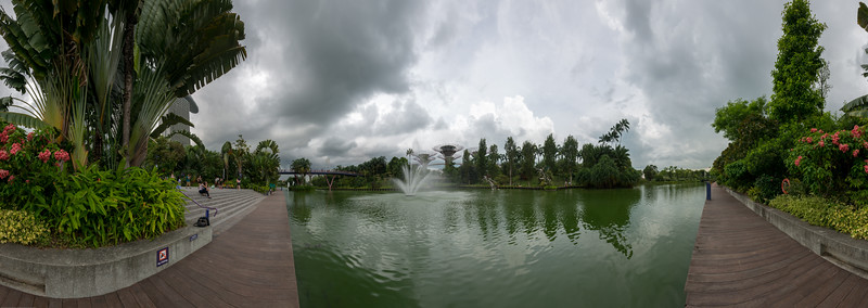 Panoramic view of Singapore's Gardens by the Bay.