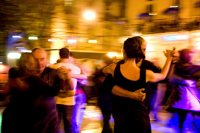 """Midnight Tango""  Tango dancing in the streets of San Telmo (Buenos Aires)"