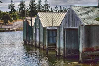 Boat sheds on the river in Nelson, Victoria Australia