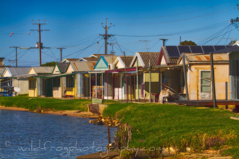 Lake side holiday homes,fishing huts, South Australia