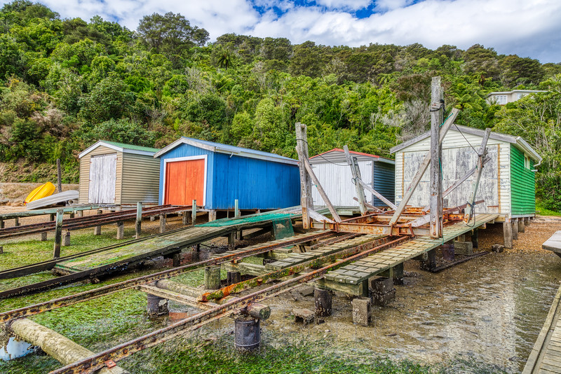 Boat Sheds, Queen Charlottle drive, New Zealand