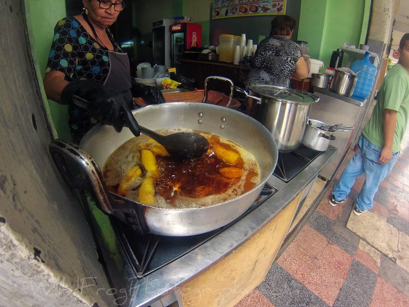 Food preparation in down town Guayaquil