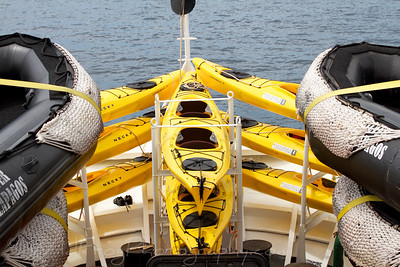 Kayaks and Zodiacs read for the next day