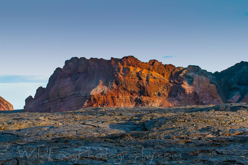 Red rocks in lava field