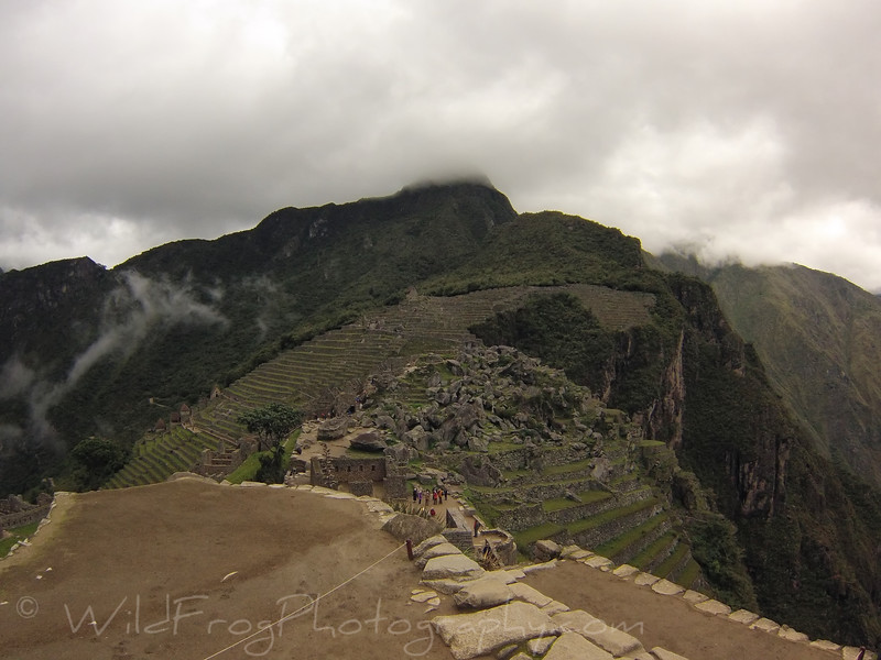 looking across to the Terraced fields and start/finish of the Inca trail (top left)